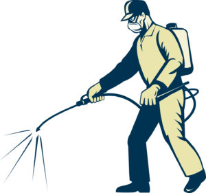 illustration of a Pest control exterminator worker spraying side view
